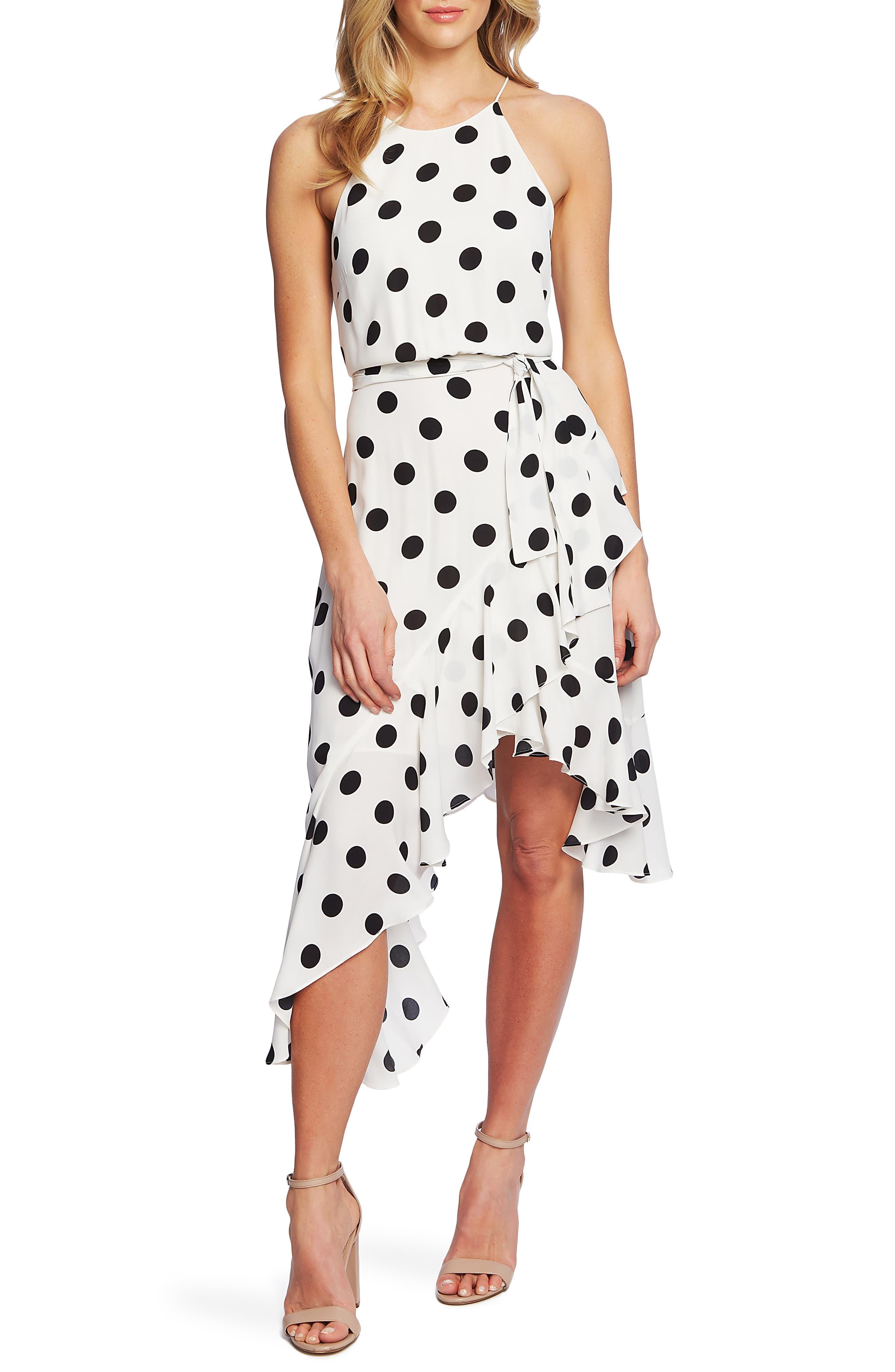Cece Dappled Dot Cascade Ruffle Sleeveless Dress, Ivory