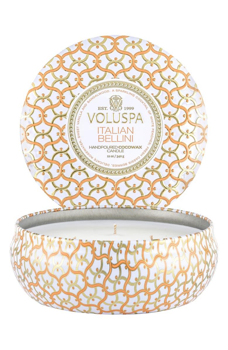 VOLUSPA Three-Wick Tin Candle, Main, color, ITALIAN BELLINI