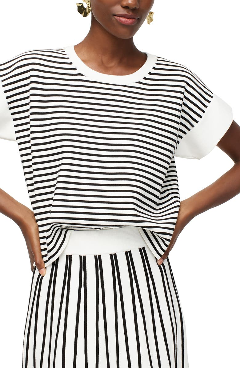 J.CREW Stripe Boxy Short Sleeve Sweater, Main, color, BLACK IVORY