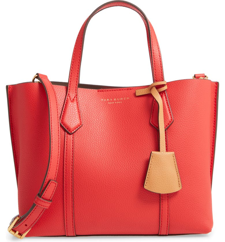 TORY BURCH Small Perry Triple Compartment Leather Satchel, Main, color, BRILLIANT RED