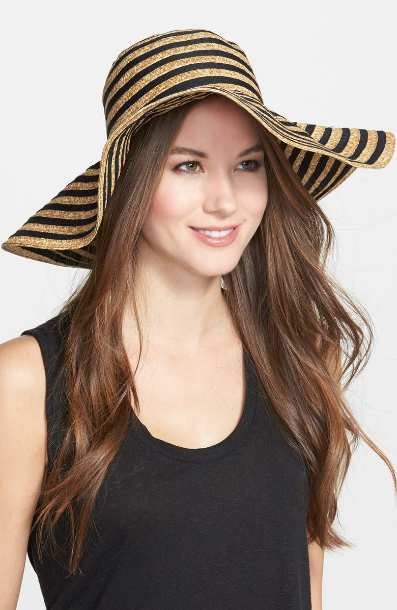 AUGUST HAT 'Mix It Up' Floppy Straw Hat, Main, color, 001