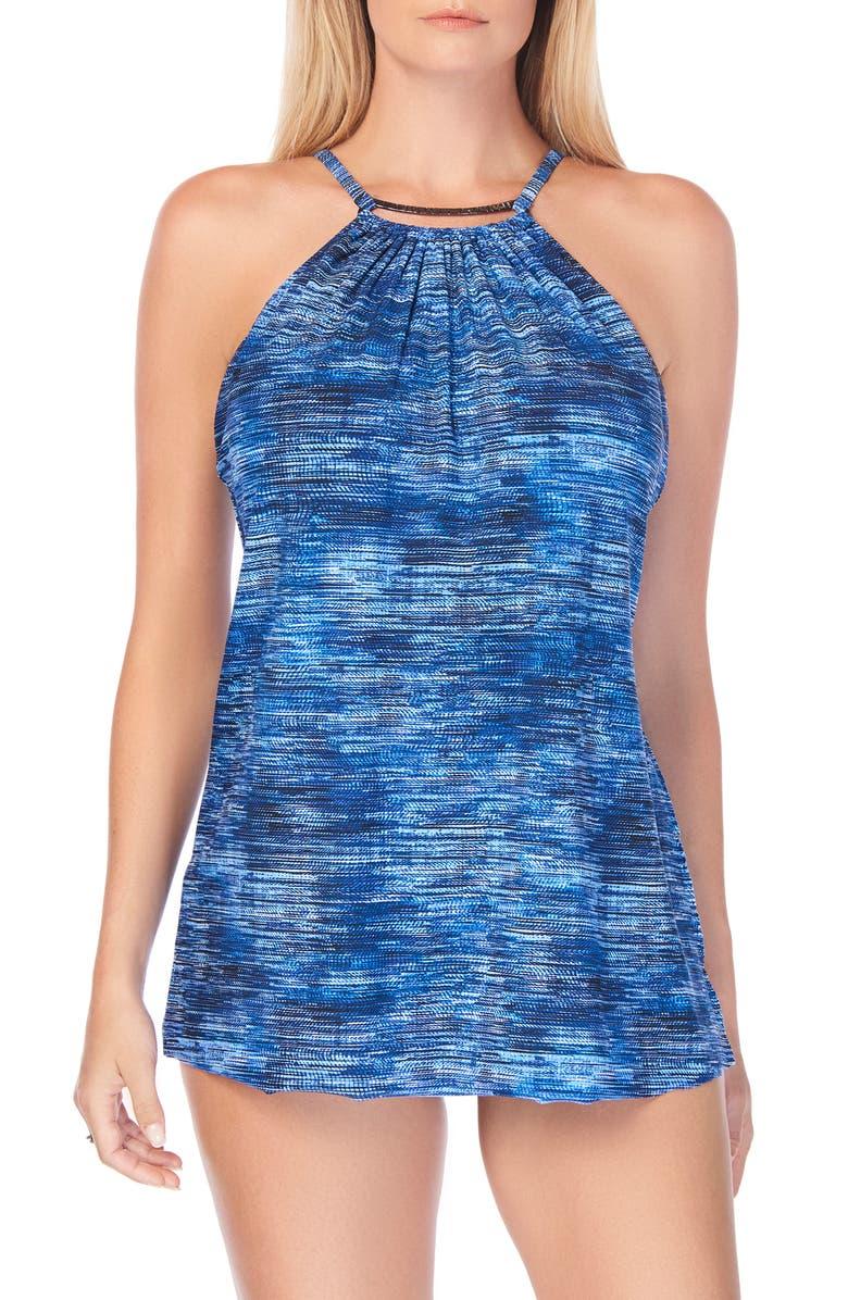 MAGICSUIT<SUP>®</SUP> Parker Skirted One-Piece Swimsuit, Main, color, DENIM