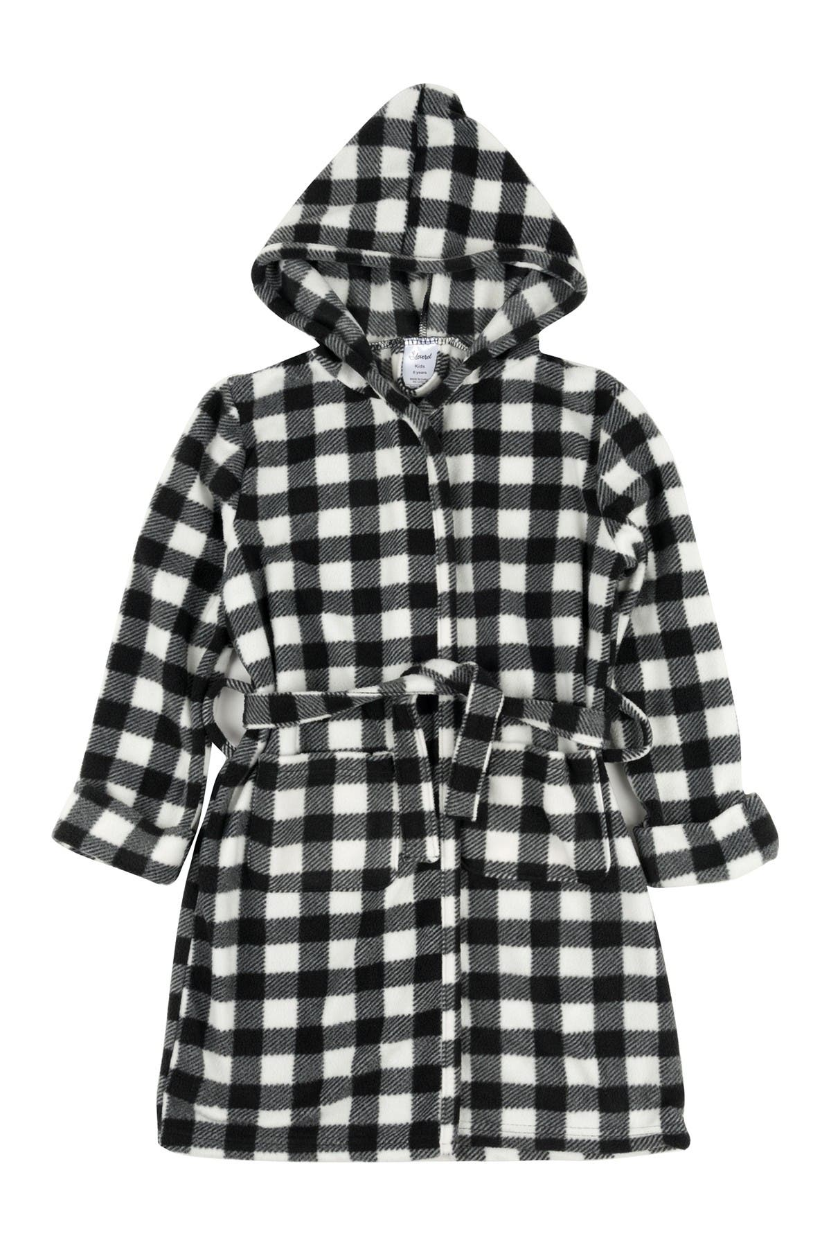 Image of Leveret Black and White Fleece Hooded Robe