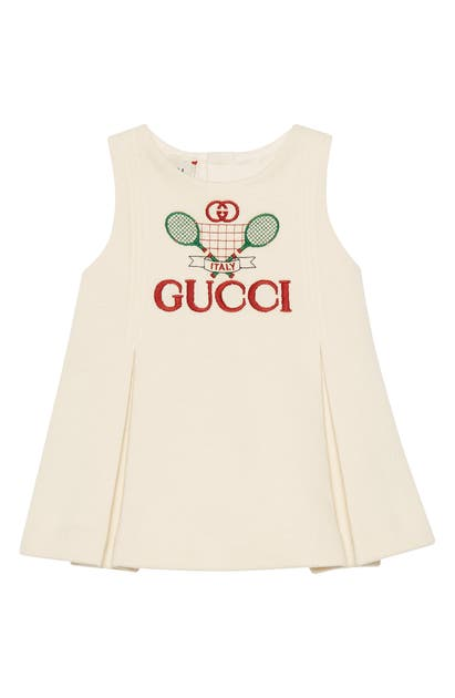 Gucci Cottons TENNIS EMBROIDERED PLEATED COTTON DRESS