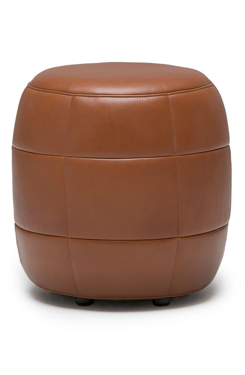 DESIGN ON STOCK USA Barrell Leather Stool, Main, color, CERA COGNAC