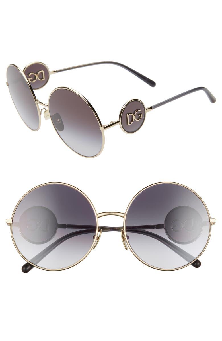 DOLCE&GABBANA Sicilian Sweet 59mm Round Sunglasses, Main, color, GOLD/ GREY GRADIENT