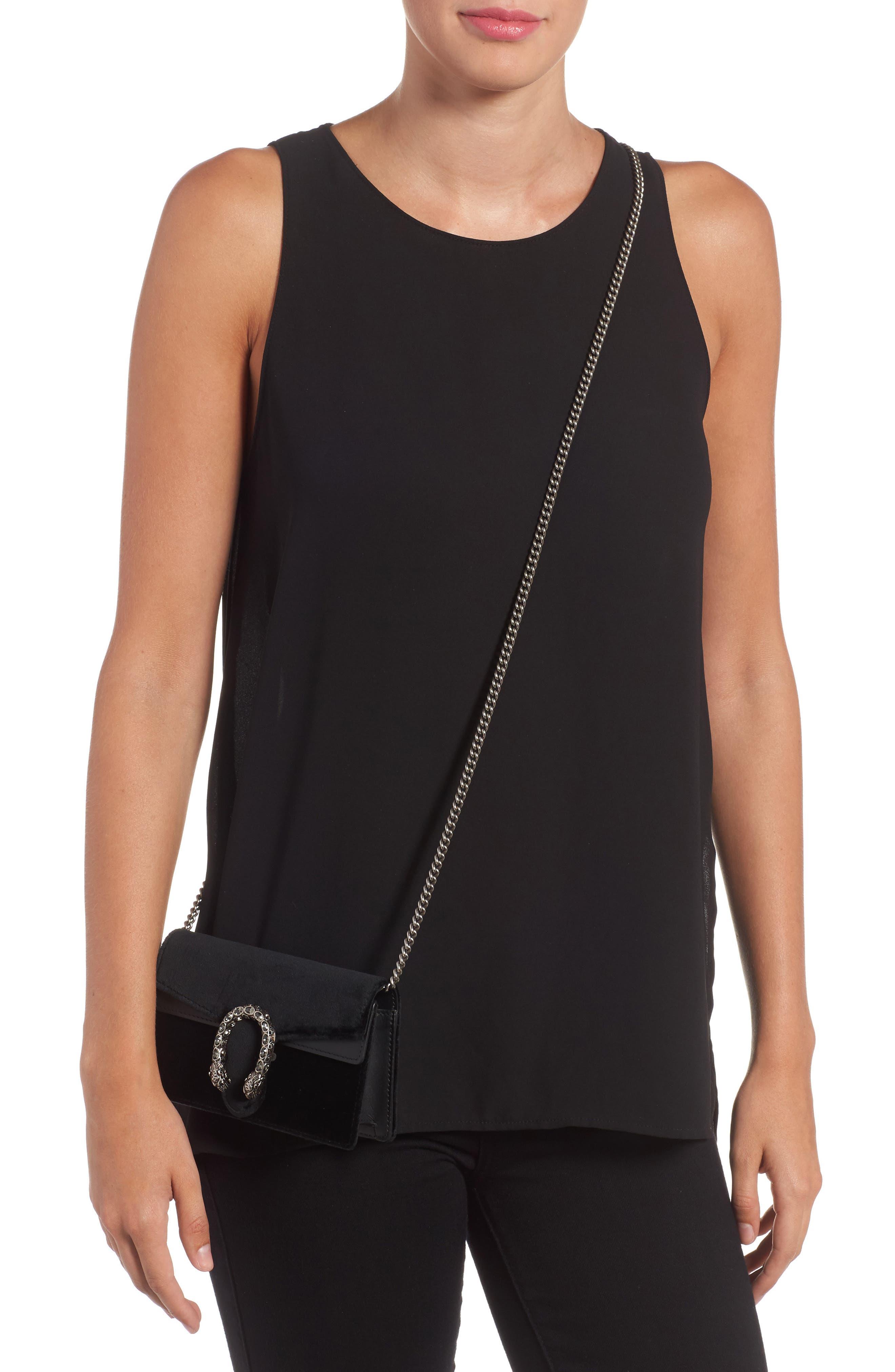 ,                             Super Mini Dionysus Velvet Shoulder Bag,                             Alternate thumbnail 8, color,                             001