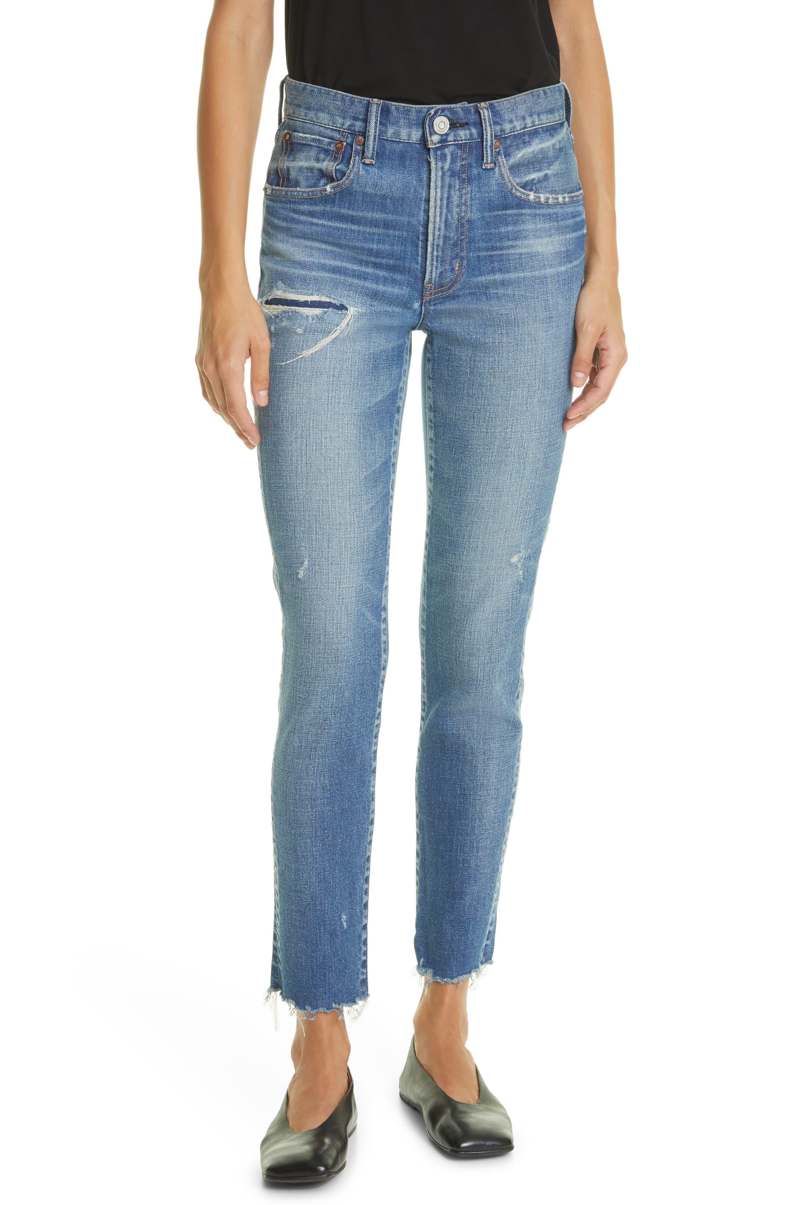 Hammond High Waist Distressed Raw Hem Skinny Jeans