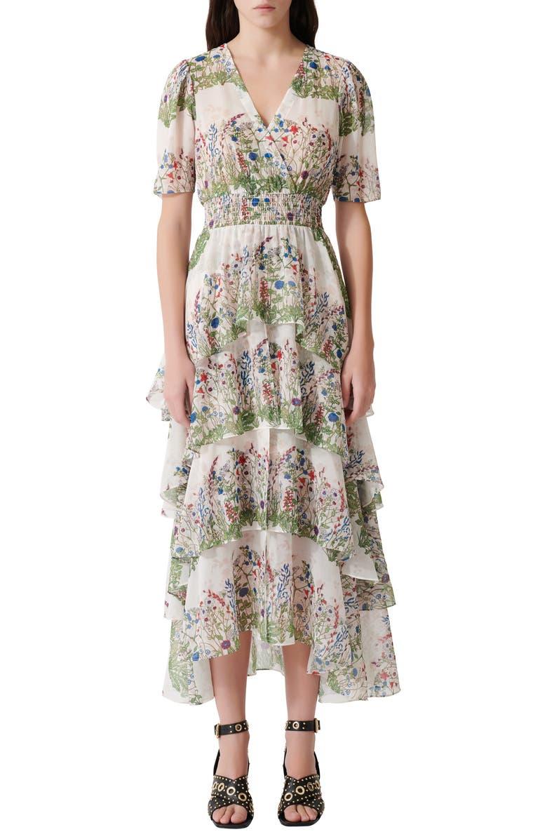 MAJE Raffle Floral Maxi Dress, Main, color, 300