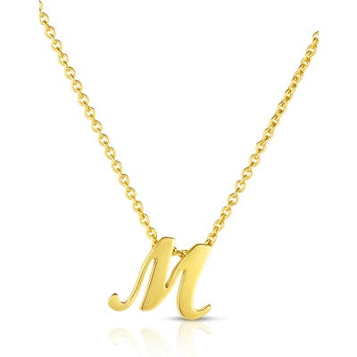 Robert Coin Cursive Initial Pendant Necklace