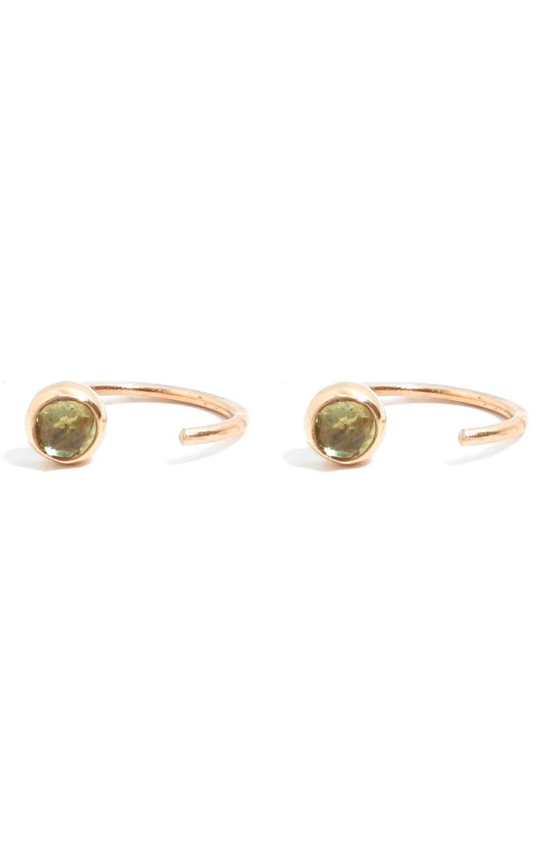MELISSA JOY MANNING Peridot Hug Hoop Earrings, Main, color, YELLOW GOLD/ PERIDOT