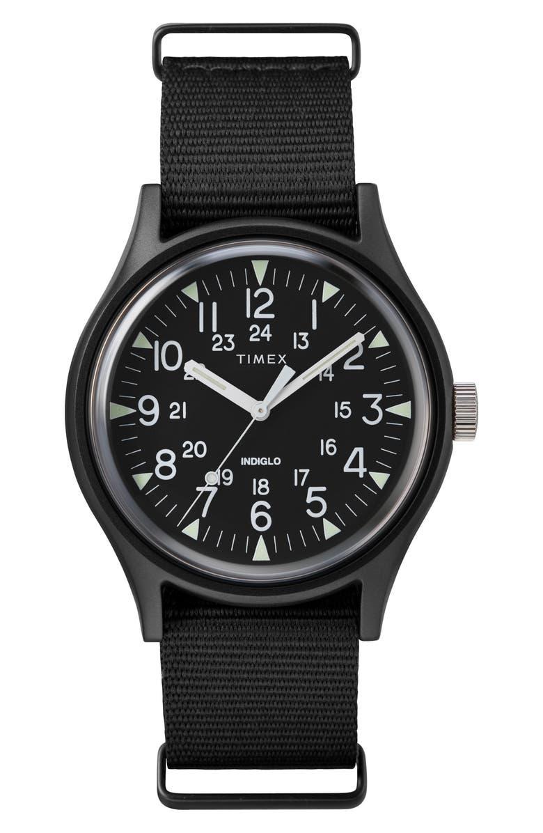 TIMEX<SUP>®</SUP> Timex MK1 Nylon Strap Watch, 40mm, Main, color, BLACK