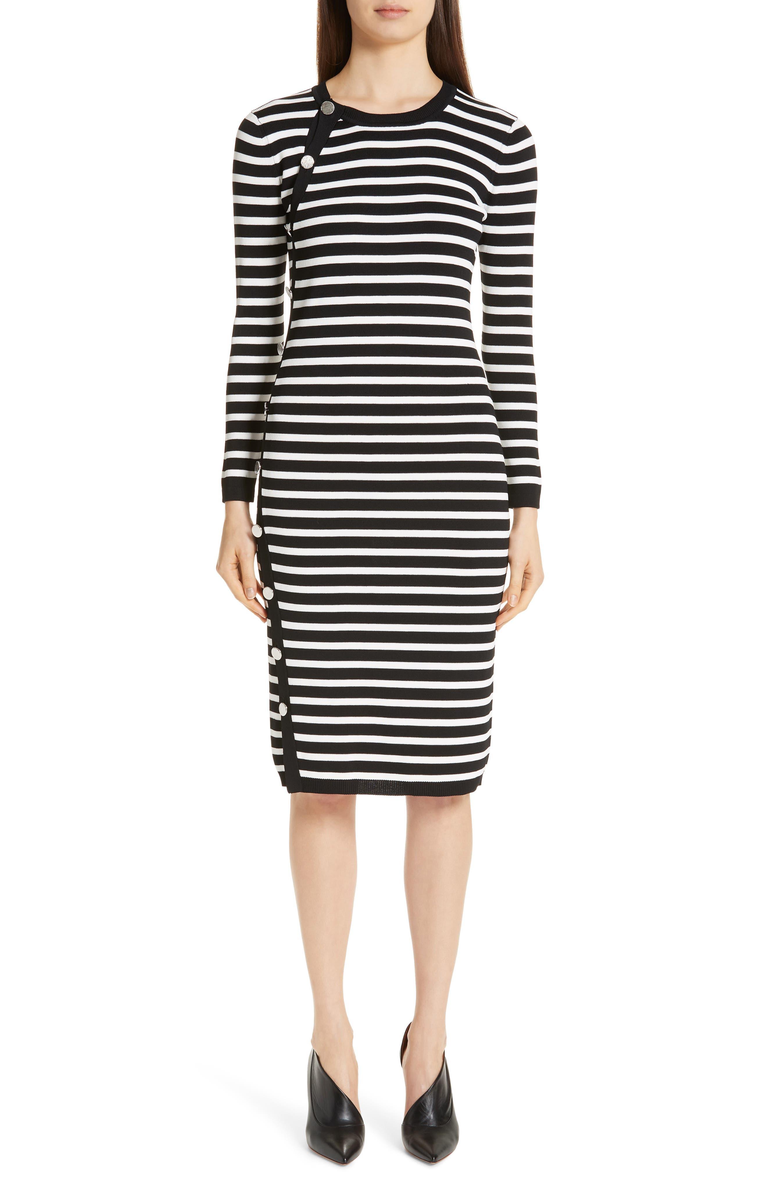 Altuzarra Side Button Stripe Body-Con Dress, Black