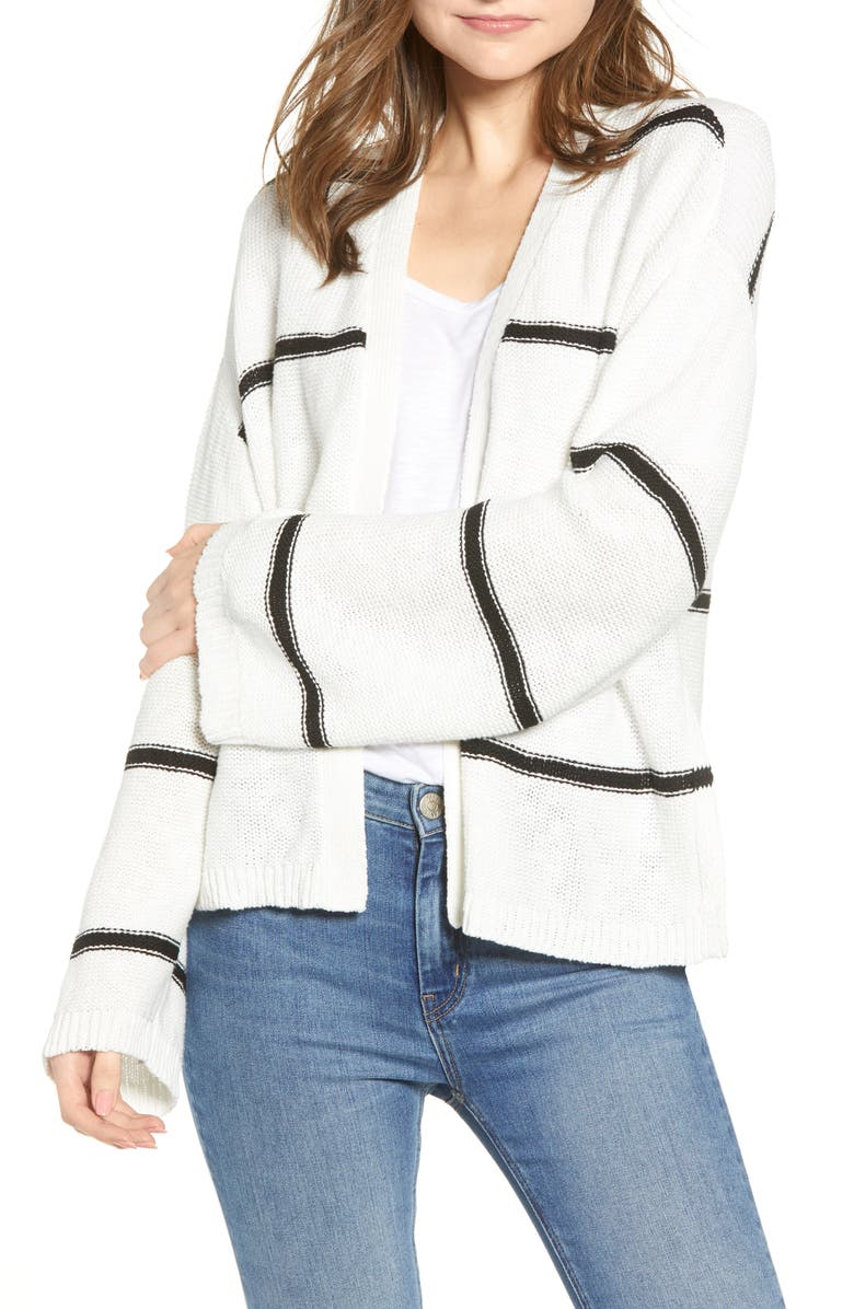 CUPCAKES AND CASHMERE Yarn Stripe Cardigan, Main, color, 110