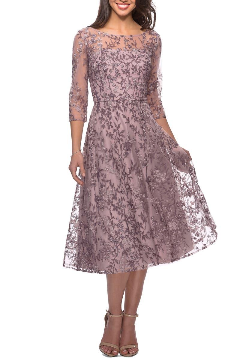 LA FEMME Lace Cocktail Dress, Main, color, DUSTY LILAC