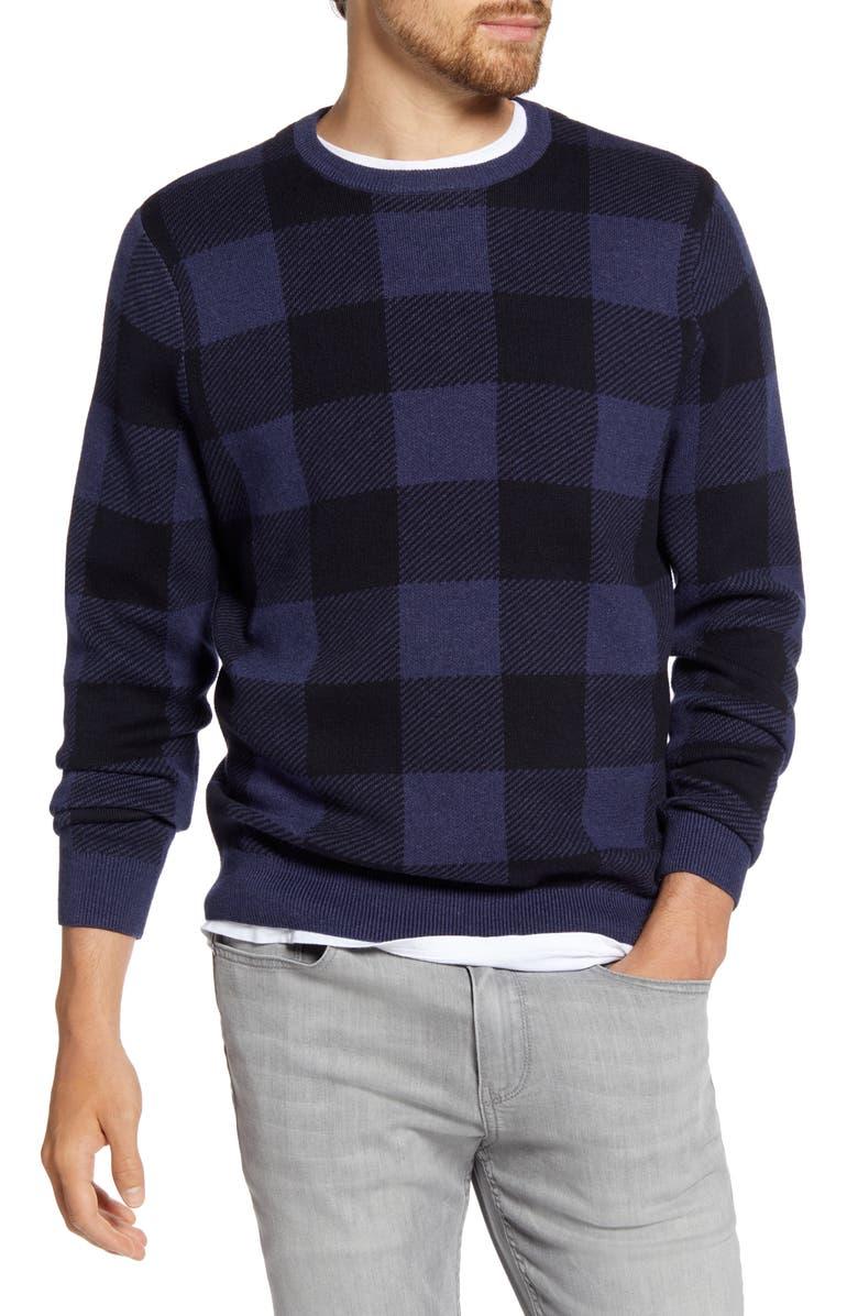 1901 Buffalo Check Crewneck Sweater, Main, color, 410