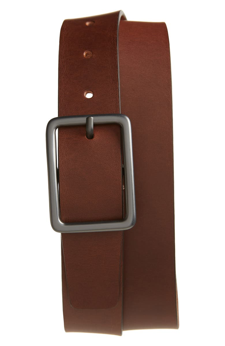 NORDSTROM MEN'S SHOP Dylan Rubberized Leather Belt, Main, color, COGNAC