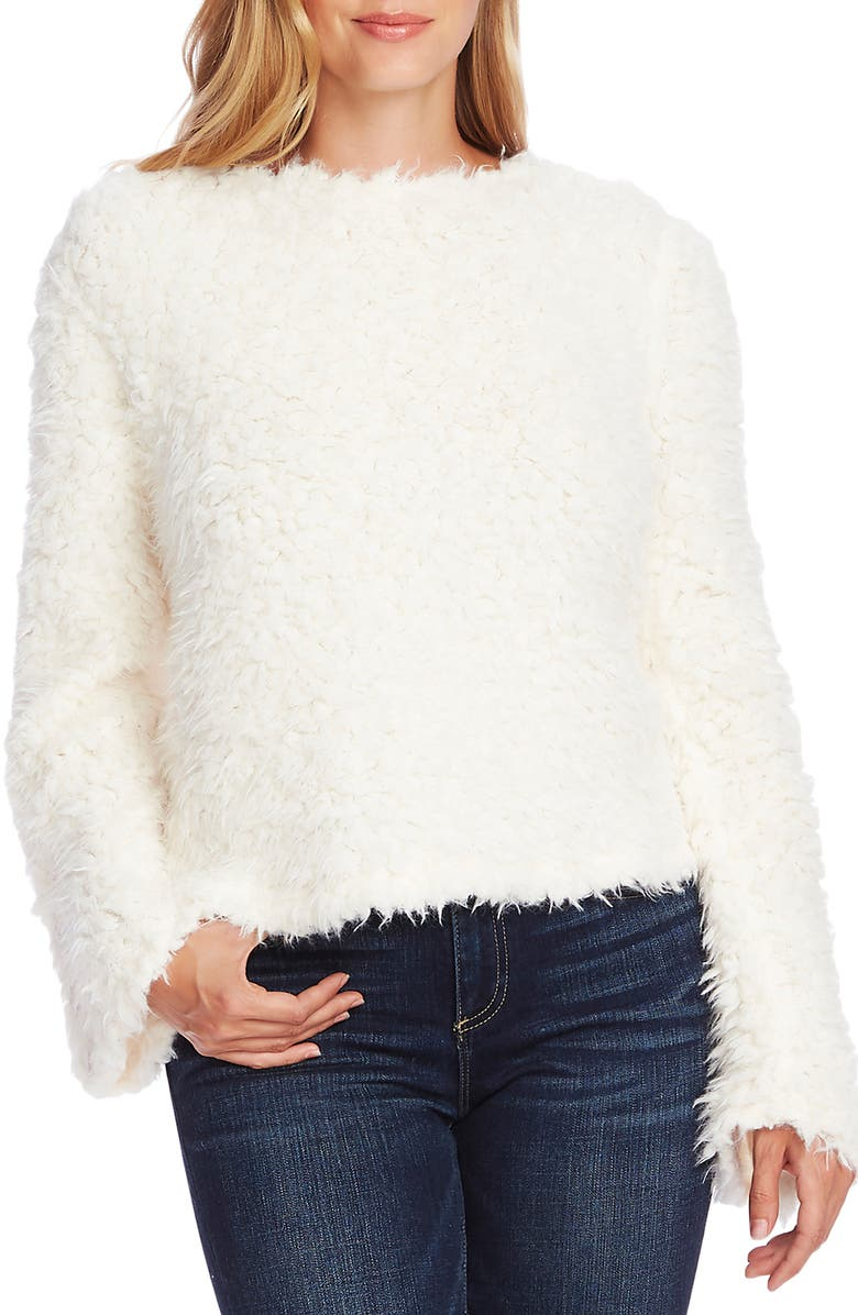 VINCE CAMUTO Bell Sleeve Textured Faux Fur Top, Main, color, PEARL IVORY