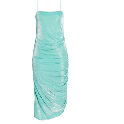 Wayf Tansy Ruched Midi Slipdress, Green