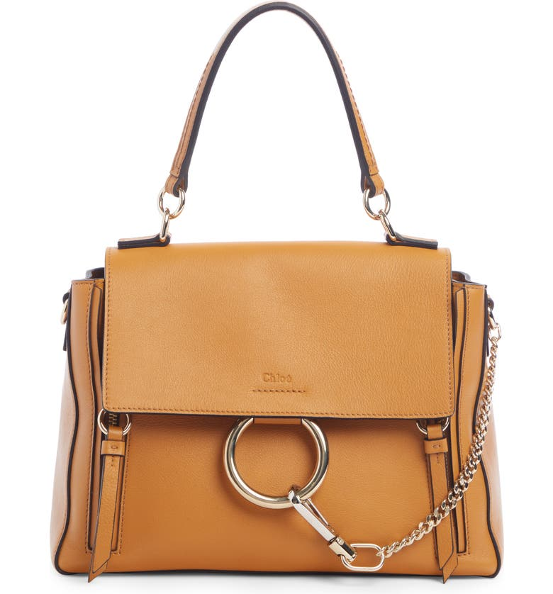CHLOÉ Small Faye Day Leather Shoulder Bag, Main, color, AUTUMNAL BROWN