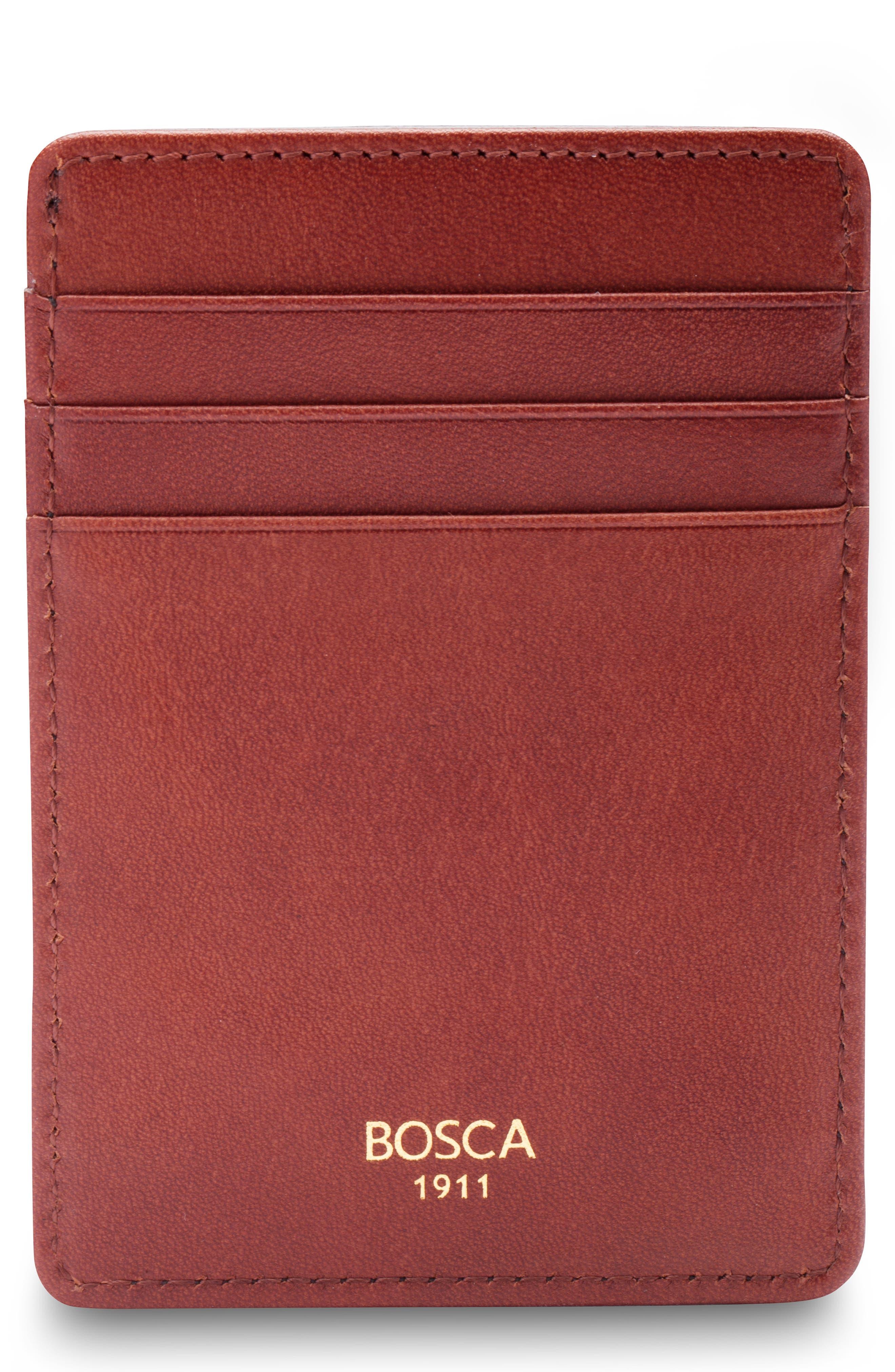 Colorblock Leather Front Pocket Money Clip Wallet