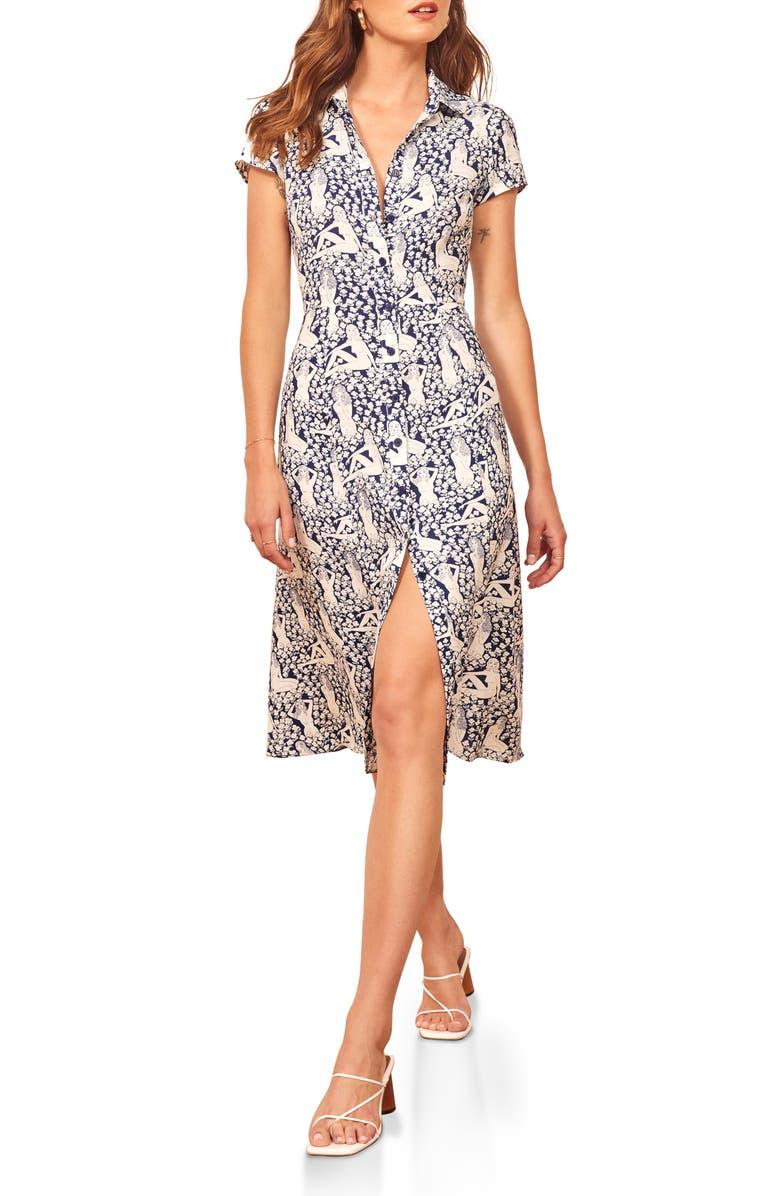 REFORMATION Wilma Midi Shirtdress, Main, color, 400