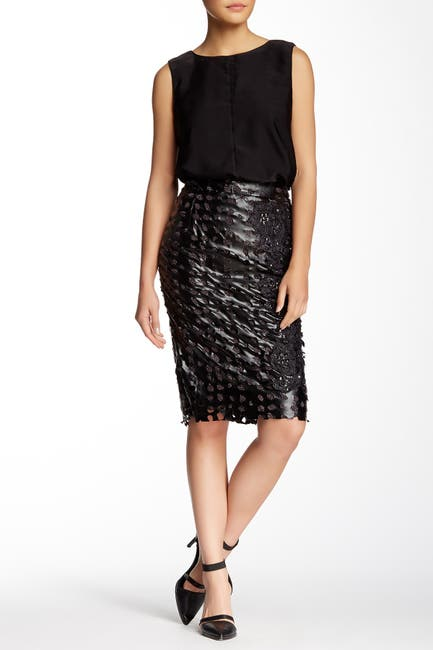 Image of TOV Faux Leather Studded Cutout Skirt