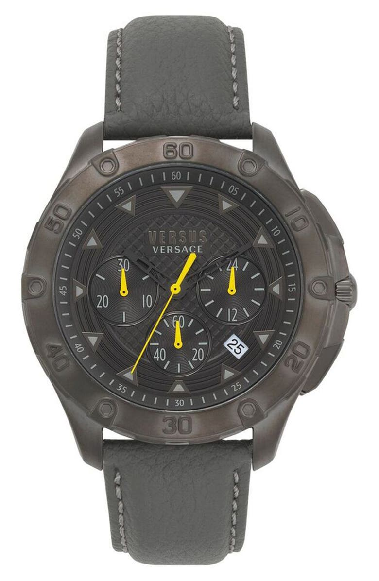 VERSACE VERSUS Versace Simons Town Chronograph Leather Strap Watch, 46mm, Main, color, 020