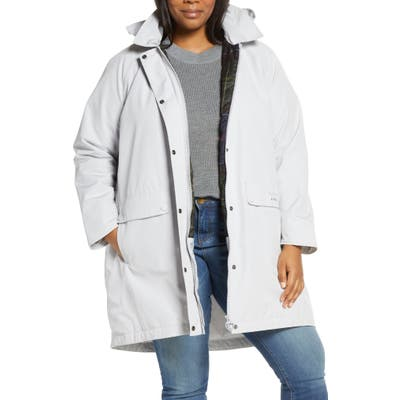 Plus Size Barbour Element Waterproof Hooded Jacket, White