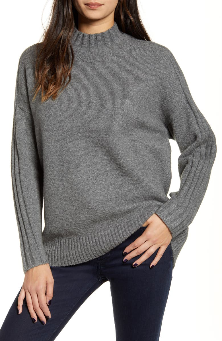 CHELSEA28 Stripe Detail Mock Neck Sweater, Main, color, 021