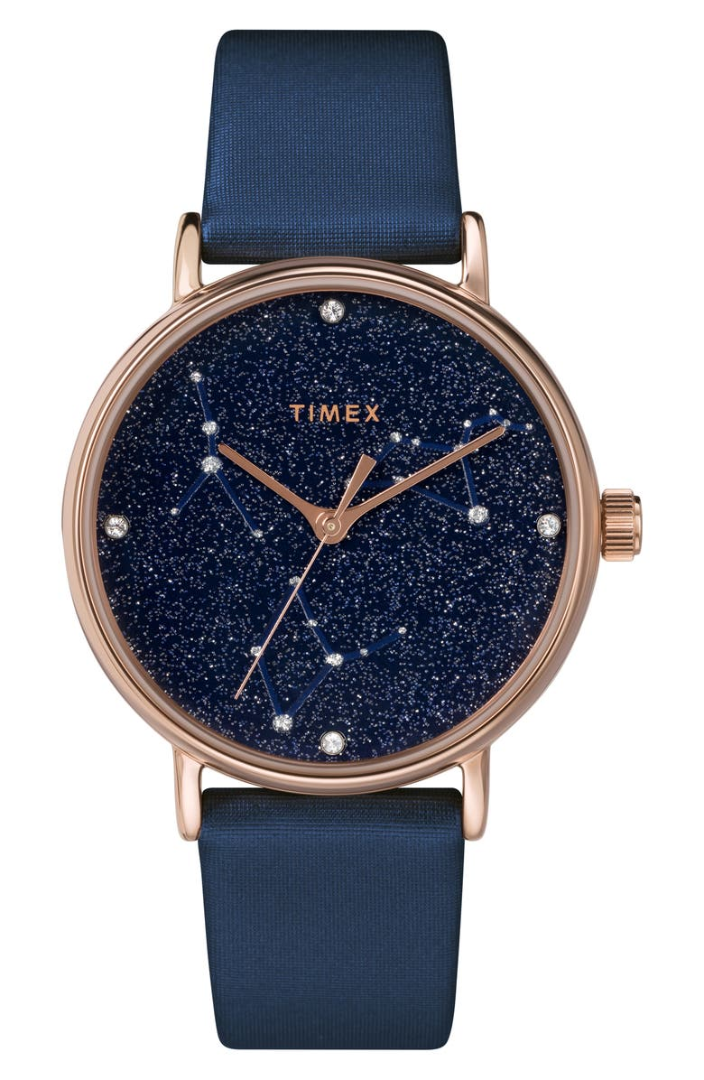 TIMEX<SUP>®</SUP> Celestial Opulence Leather Strap Watch, 37mm, Main, color, BLUE/ ROSE GOLD