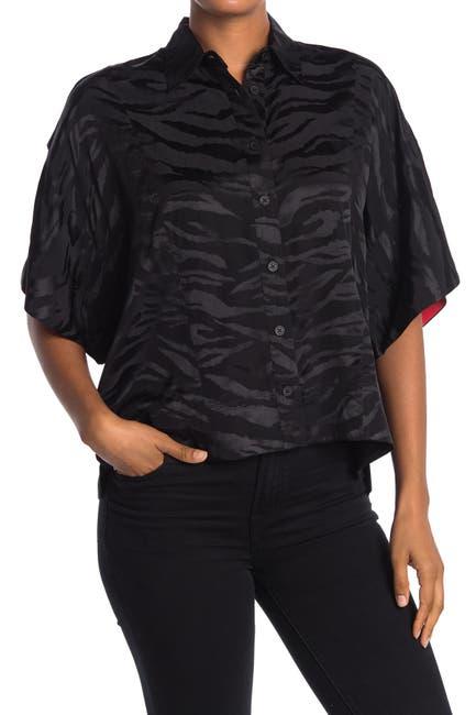 Image of Zadig & Voltaire Topaz Flare Sleeve Jacquard Tiger Stripe Print Blouse