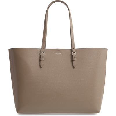 Saint Laurent Medium East/west Leather Shopping Tote - Brown