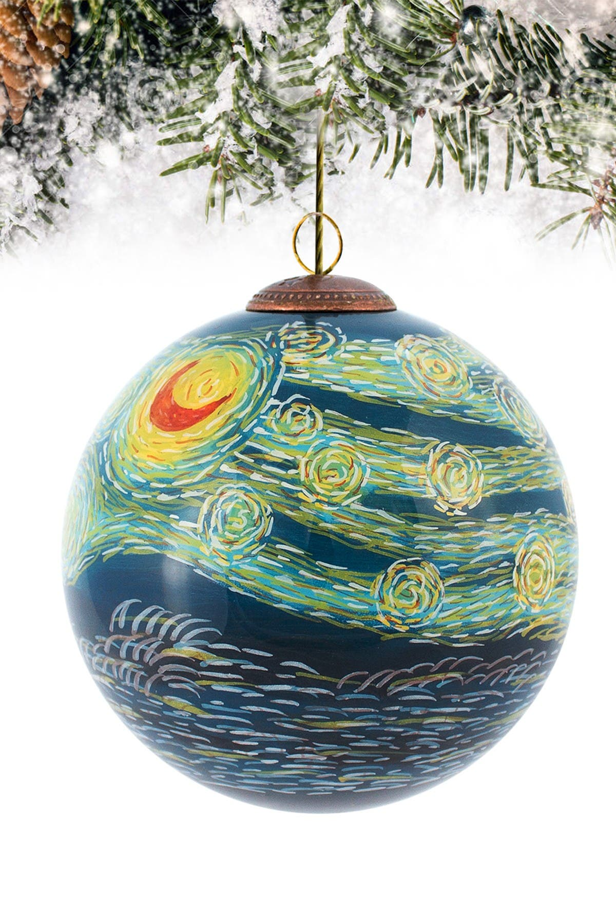 """Image of Overstock Art """"Starry Night"""" Hand-Painted Glass Ornament"""