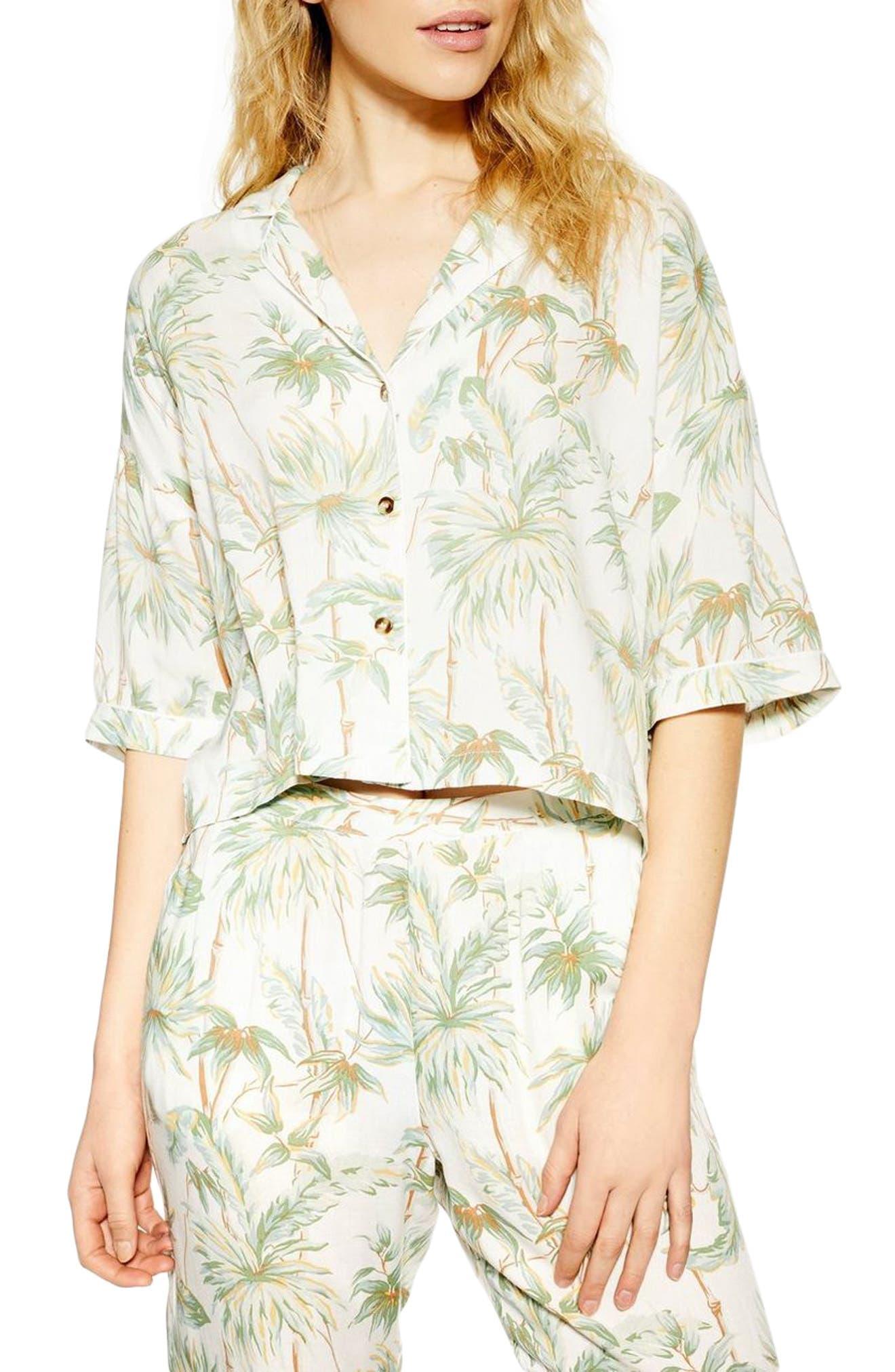 Topshop Tropical Pajama Shirt, White