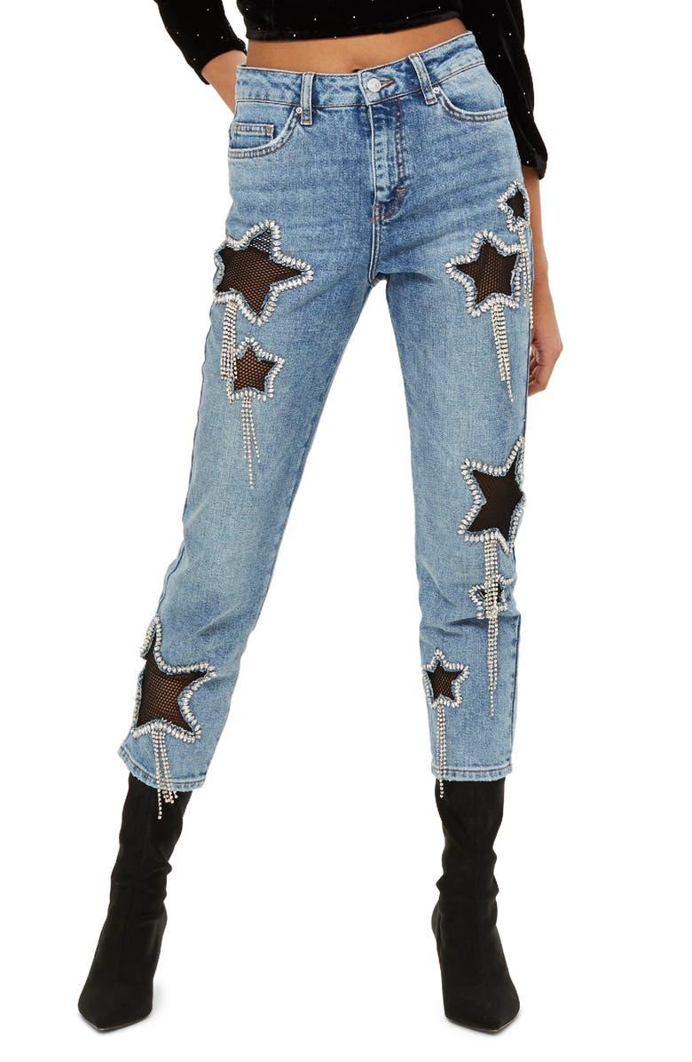 TOPSHOP Bleach Diamante Star Jeans, Main, color, 420