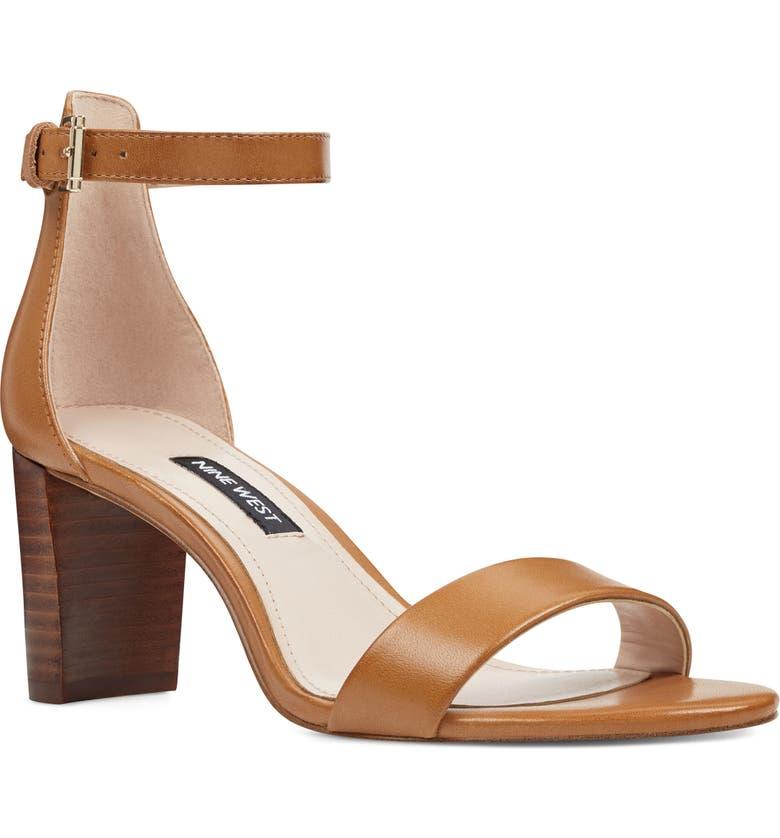 NINE WEST Pruce Ankle Strap Sandal, Main, color, NEW LUGGAGE