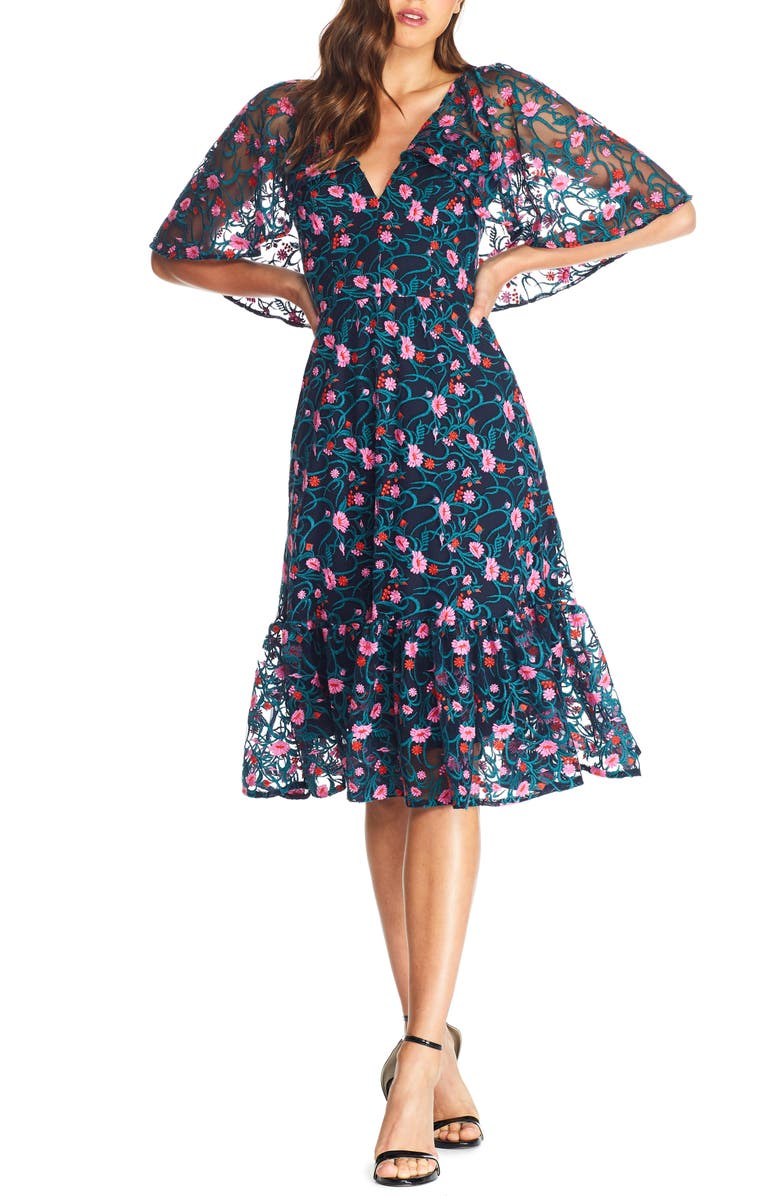 DRESS THE POPULATION Virginia Cape Sleeve Embroidered Dress, Main, color, NAVY MULTI