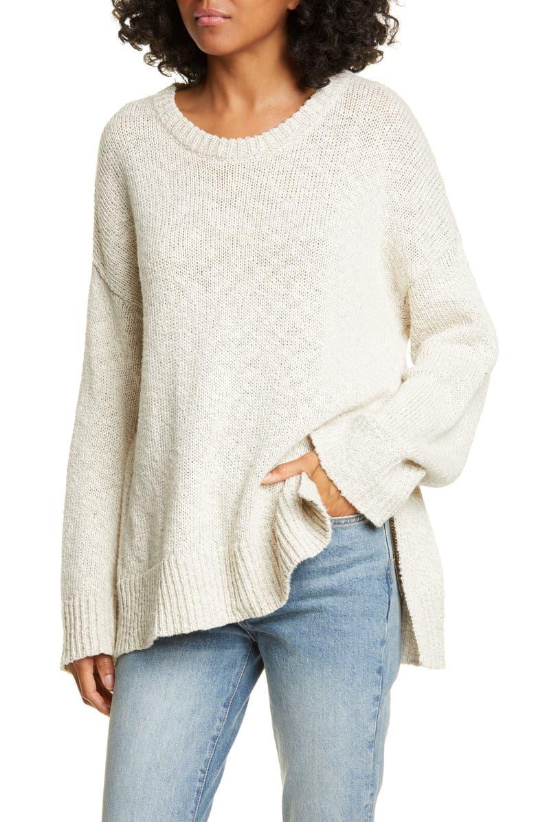 JENNI KAYNE Cotton & Linen Crewneck Boyfriend Sweater, Main, color, 250