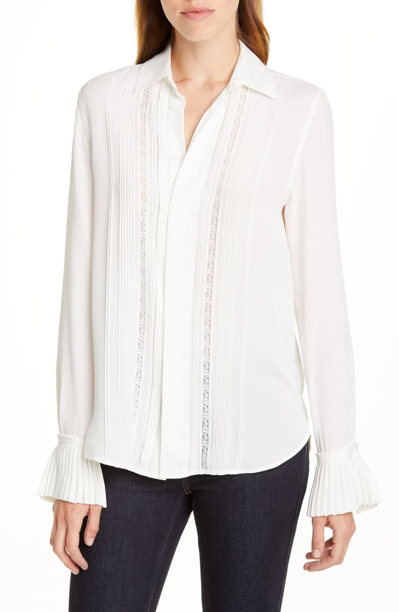 POLO RALPH LAUREN Lace & Ruffle Detail Silk Shirt, Main, color, WHITE