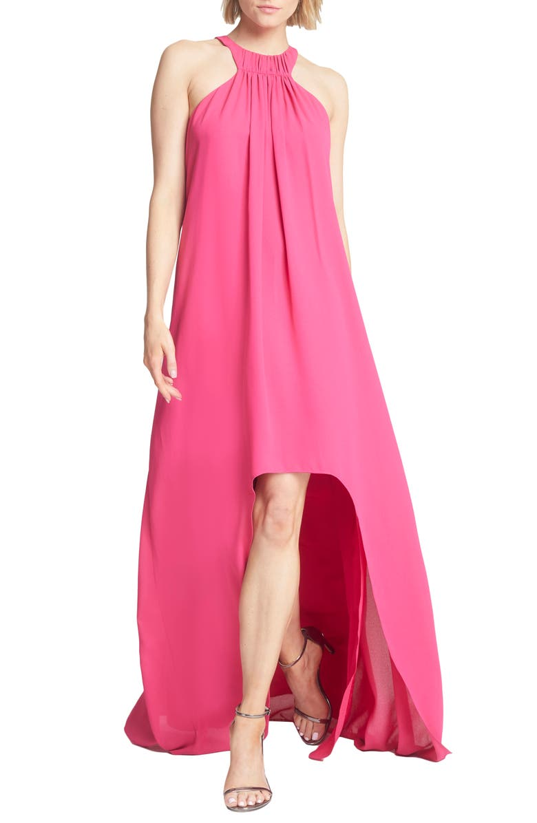 HALSTON HERITAGE High/Low Crepe Trapeze Gown, Main, color, BERRY