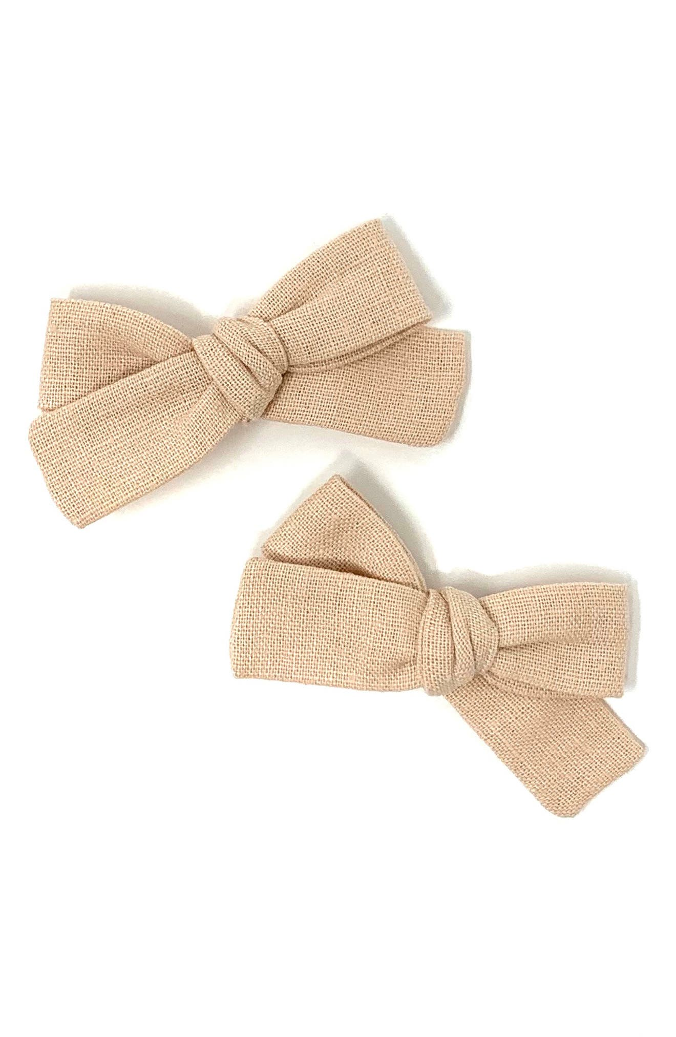 Lululuvs 2Pack Skinny Ribbon Pigtail Bows Hair Clips Size One Size  Pink