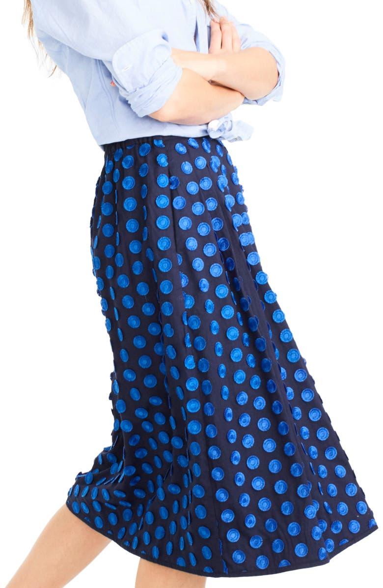 J.CREW Fringe Dot Midi Skirt, Main, color, 400