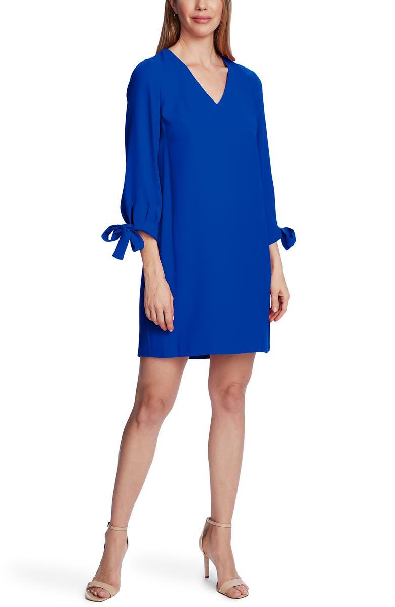 CECE Tie Sleeve A-Line Dress, Main, color, ROYAL BLUE
