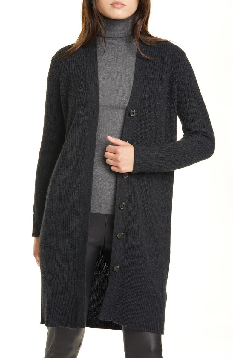 POLO RALPH LAUREN Wool Blend Cardigan, Main, color, CHARCOAL HEATHER