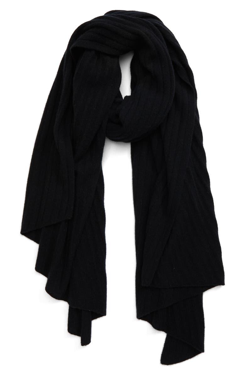 HALOGEN<SUP>®</SUP> Diagonal Rib Cashmere Scarf, Main, color, BLACK