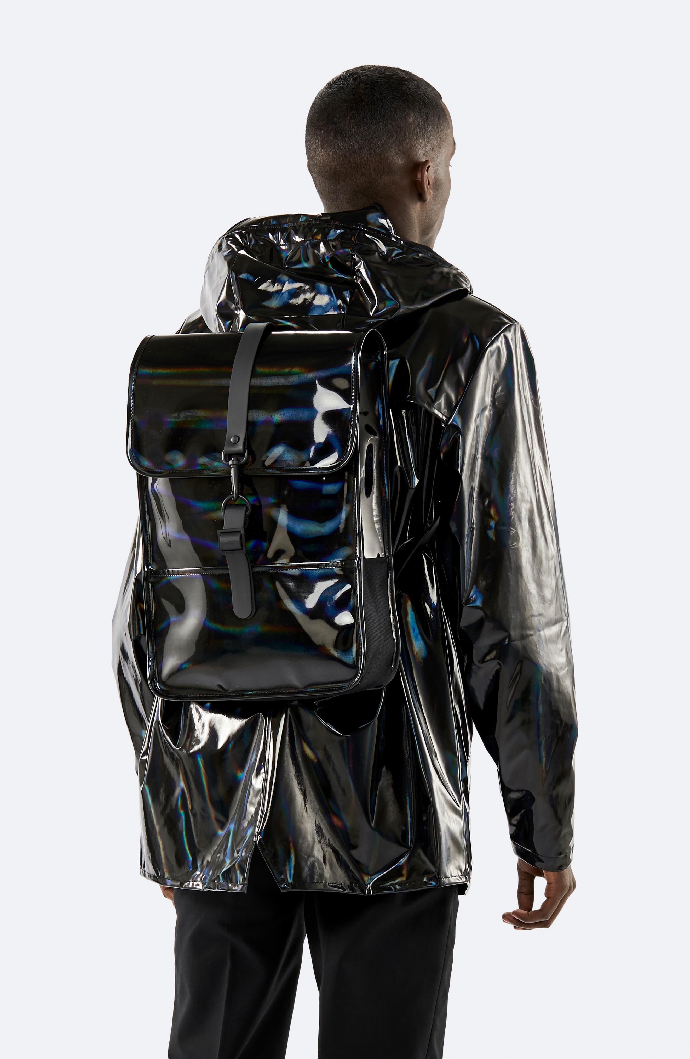,                             Mini Waterproof Holographic Backpack,                             Alternate thumbnail 2, color,                             BLACK
