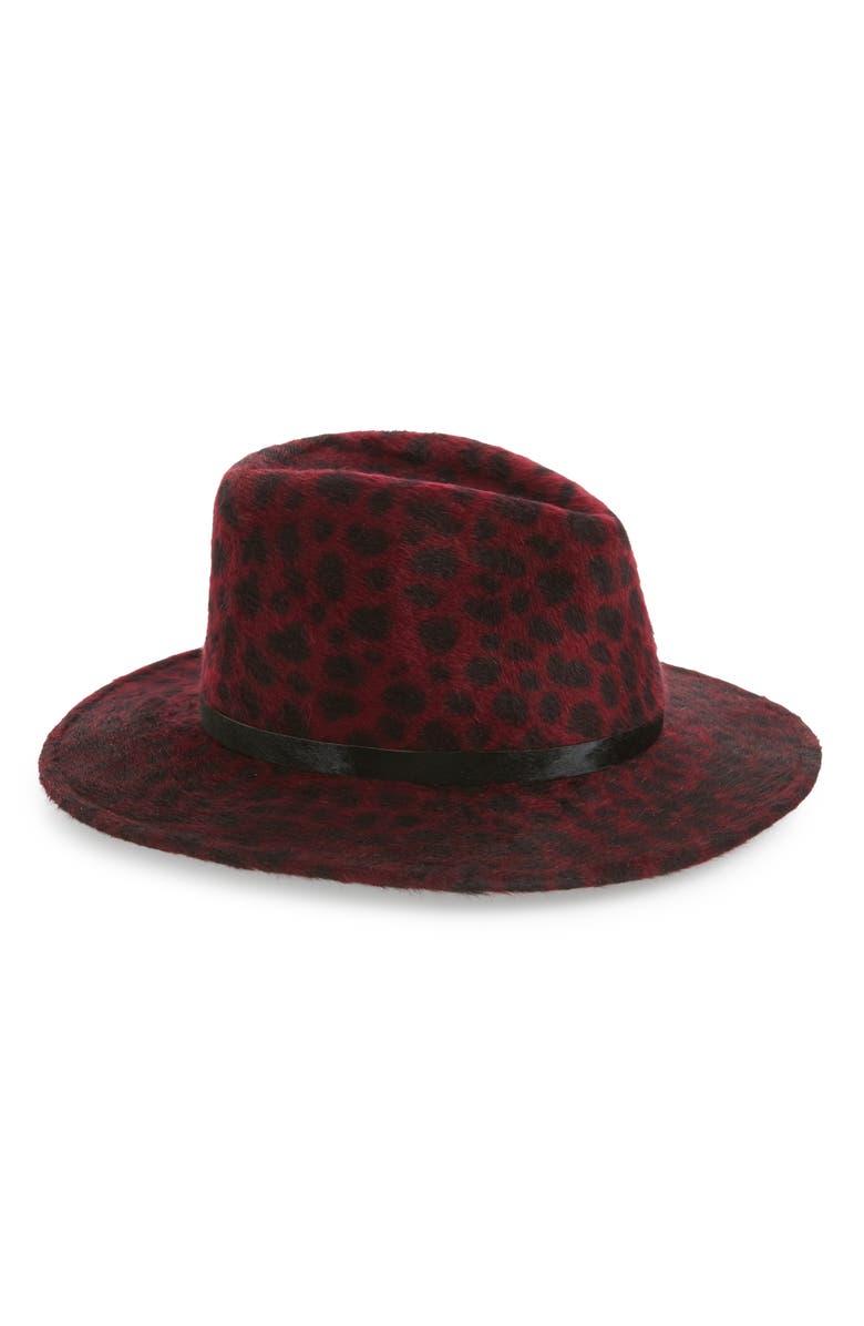 EUGENIA KIM Leopard Spot Fur Felt Fedora, Main, color, RED LEOPARD