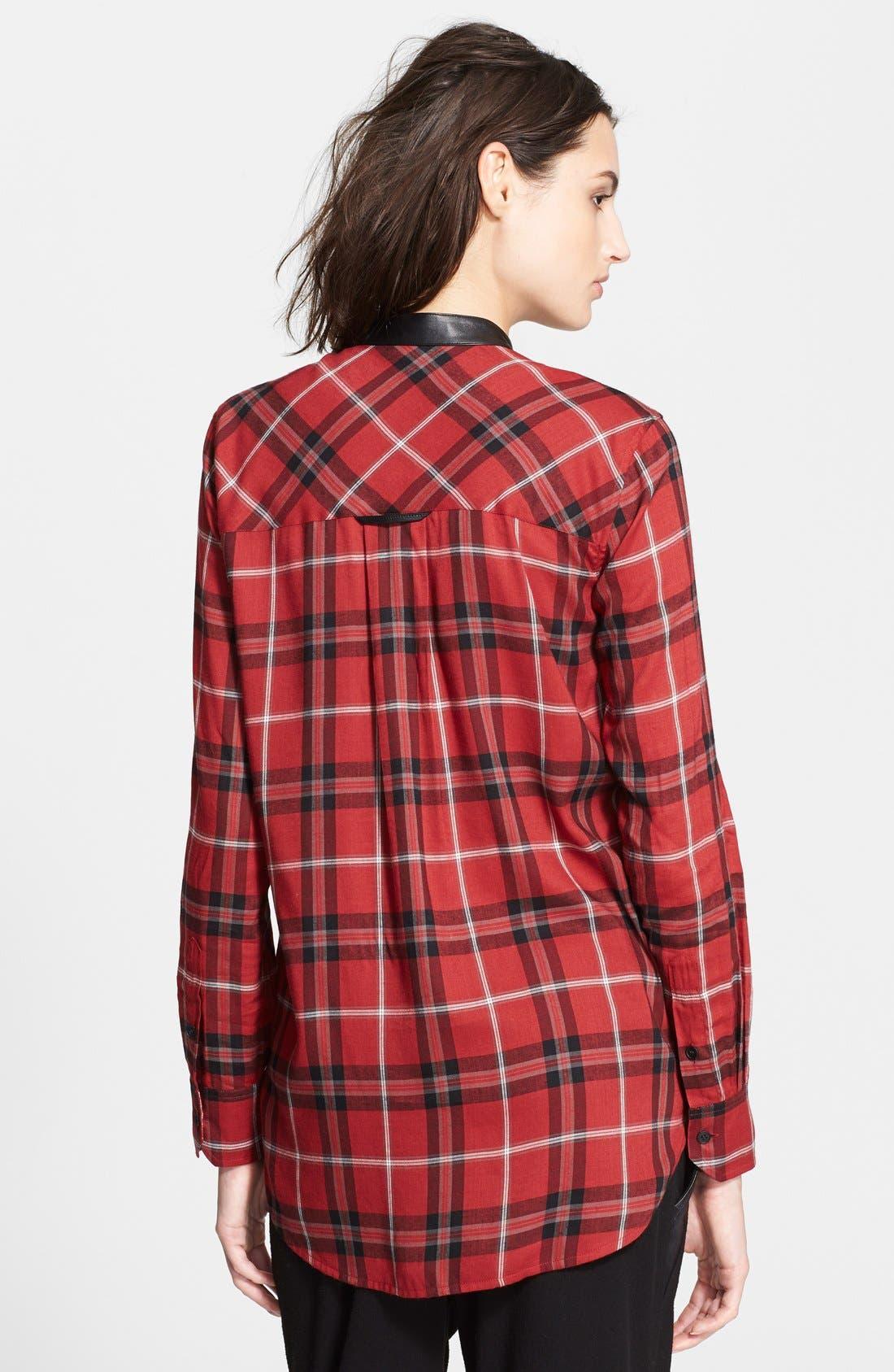 ,                             Leather Trim Plaid Long Sleeve Shirt,                             Alternate thumbnail 5, color,                             623