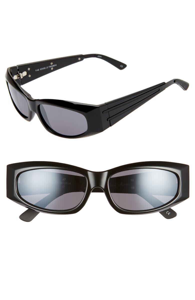 ADAM SELMAN X LE SPECS LUXE The Edge 55mm Wrap Sport Sunglasses, Main, color, BLACK/ SMOKE/ MIRROR